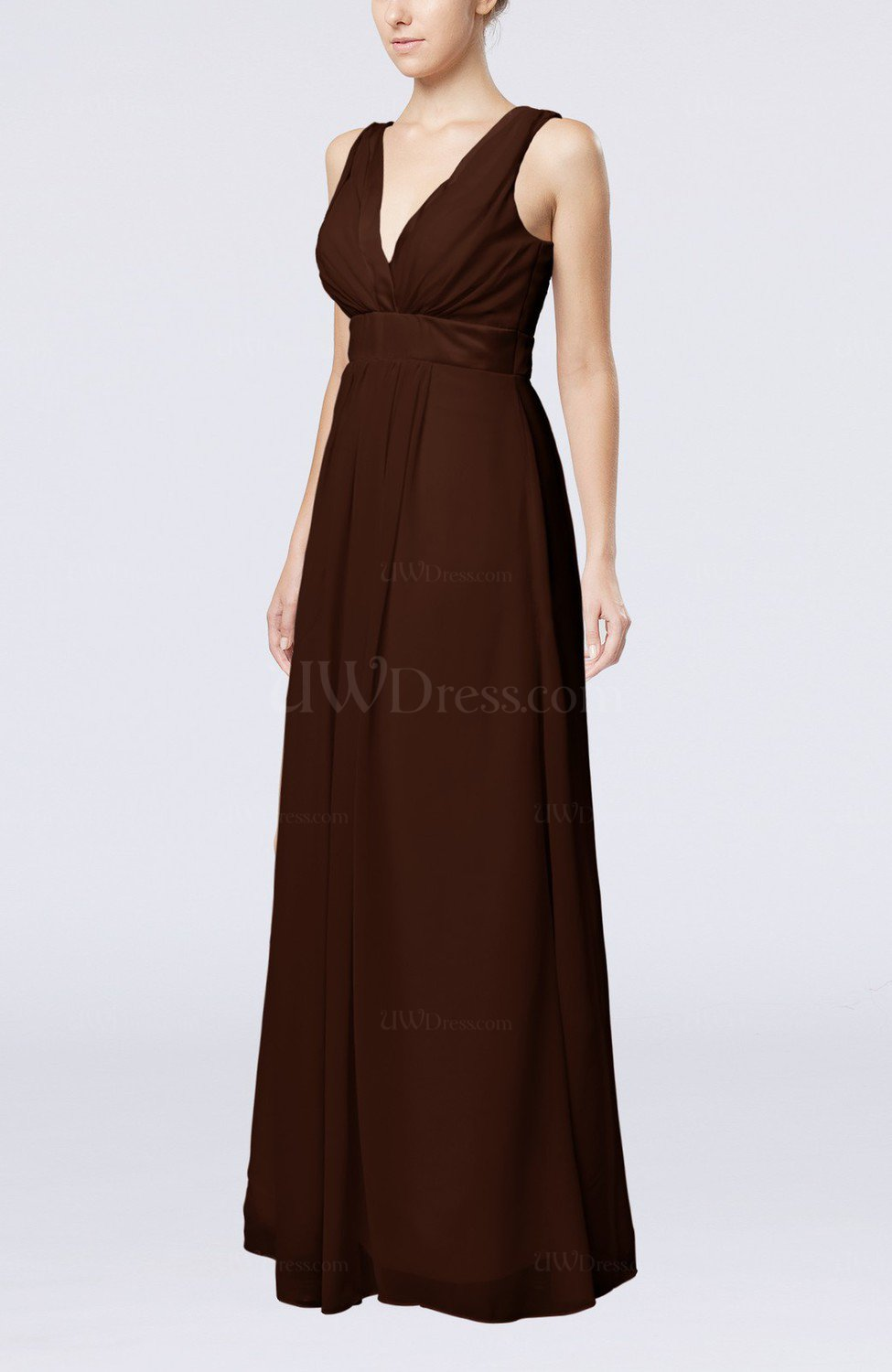f62a9fce803 Chocolate Brown Plain V-neck Zip up Chiffon Sash Bridesmaid Dresses (Style  D31089)