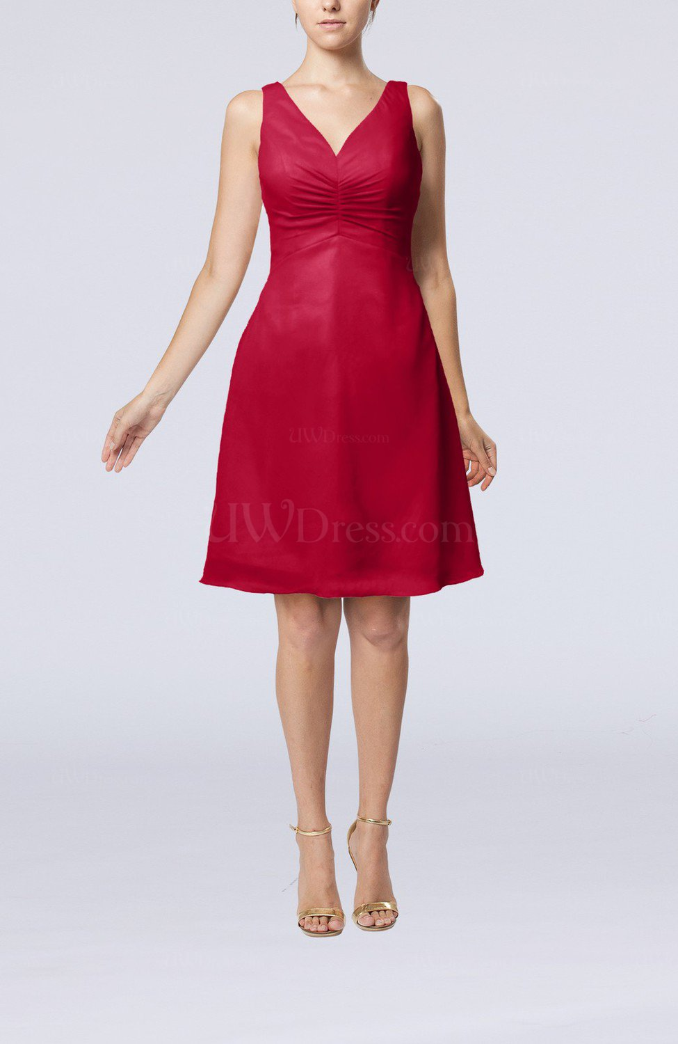 7659d98e07ae Dark Red Mature A-line V-neck Knee Length Pleated Bridesmaid Dresses ...