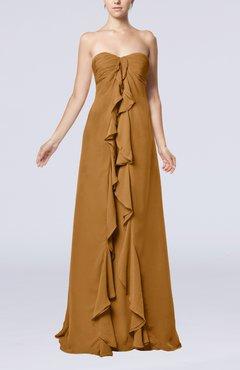 73b4d7a60d17 Light Brown Simple Empire Sweetheart Zip up Chiffon Sweep Train Wedding  Guest Dresses