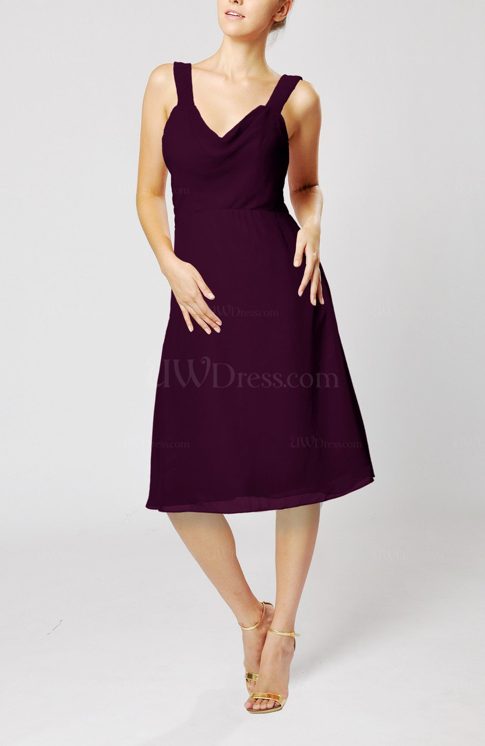 Plum Plain Thick Straps Sleeveless Chiffon Knee Length
