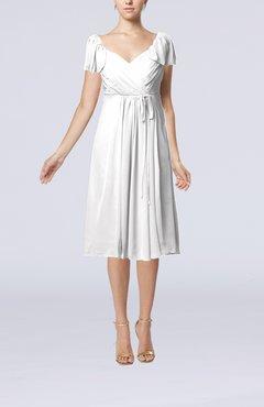 680e18151bb White Plain Empire Queen Elizabeth Short Sleeve Chiffon Knee Length Party  Dresses