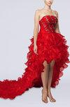 Sexy A-line Strapless Hi-Lo Ruffles Evening Dresses