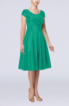 263a5469976 Emerald Green Simple A-line Scoop Short Sleeve Taffeta Knee Length Wedding  Guest Dresses