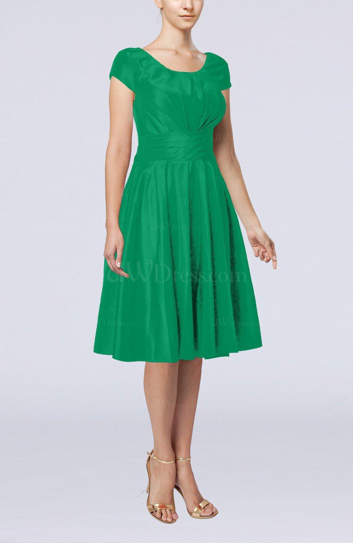 Green Simple A Line Scoop Short Sleeve Taffeta Knee Length Wedding Guest Dresses