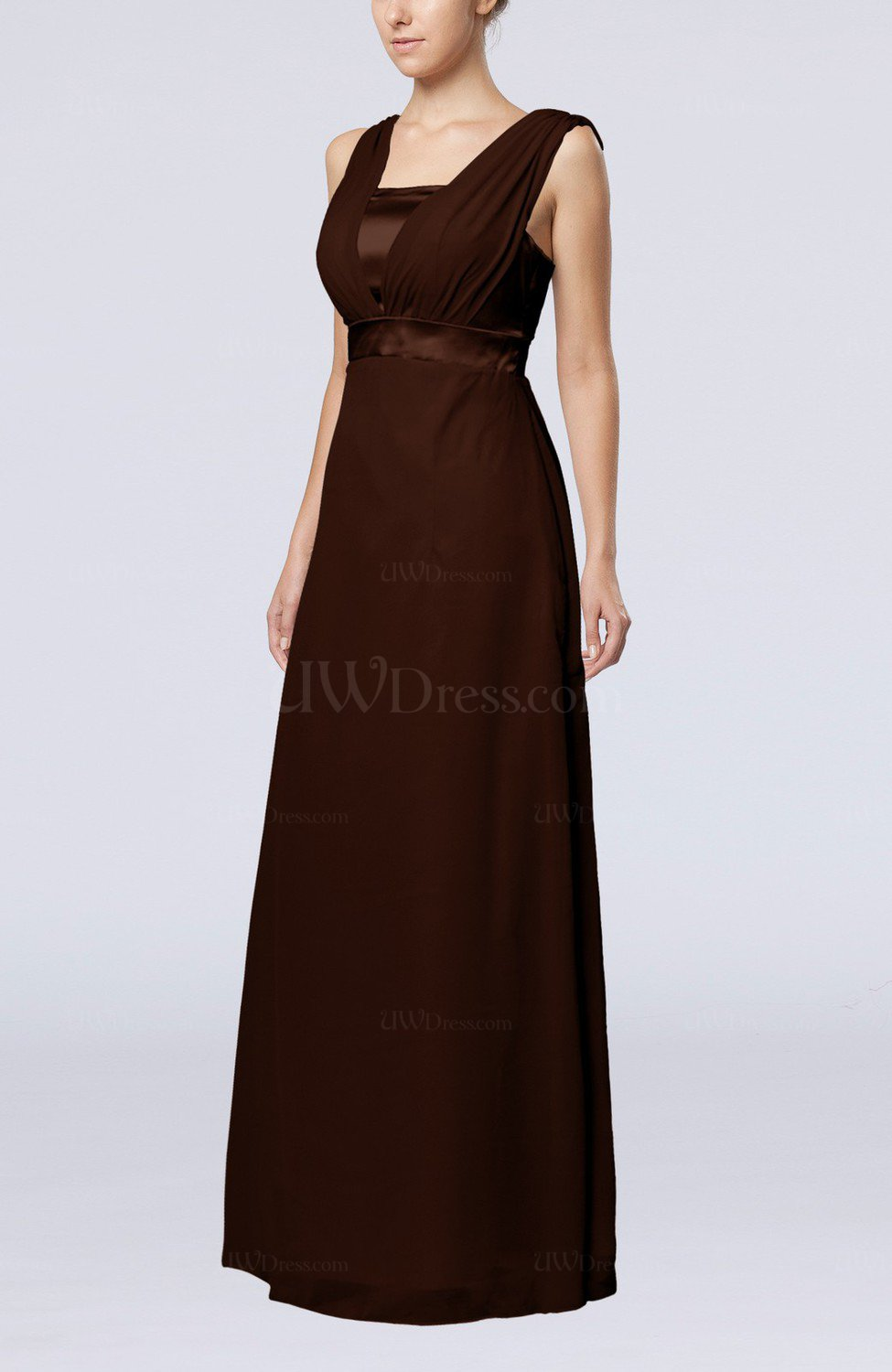 7347d6f7d5c8 Chocolate Brown Elegant Empire Thick Straps Sleeveless Chiffon Floor Length  Wedding Guest Dresses (Style D51660)