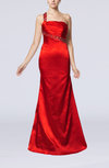 Sexy One Shoulder Sleeveless Elastic Woven Satin Paillette Evening Dresses