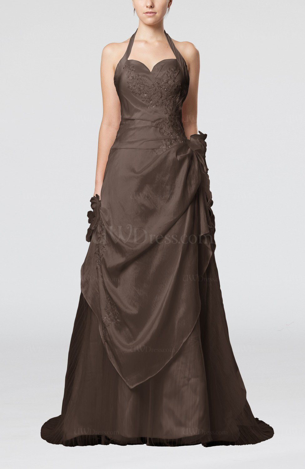 fff127744f Chestnut Brown Fairytale Outdoor A-line Sleeveless Brush Train Pleated Bridal  Gowns (Style D06013)