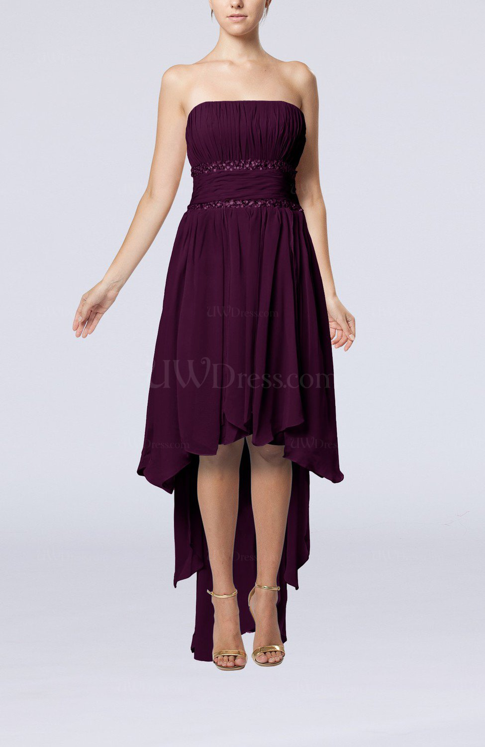 51d3071bebf Plum Plain A-line Strapless Sleeveless Zipper Chiffon Party Dresses (Style  D99436)