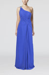 Plain Asymmetric Neckline Criss-cross Straps Floor Length Ruching Party Dresses