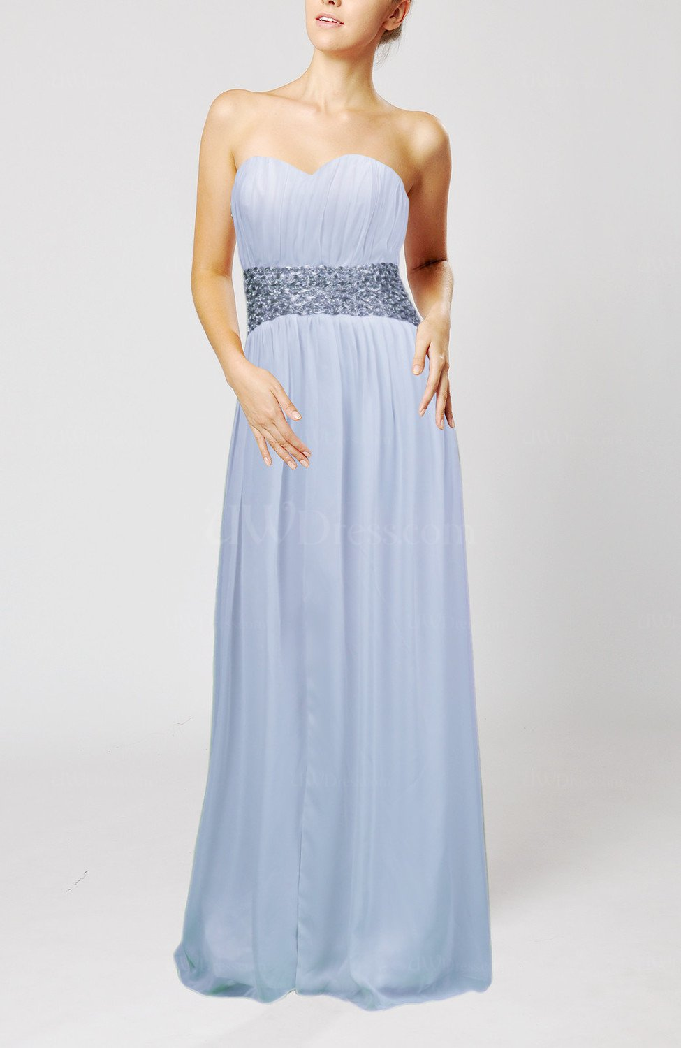 Ice Blue Simple Sheath Sleeveless Floor Length Sash