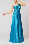 Simple A-line One Shoulder Backless Elastic Woven Satin Pleated Evening Dresses