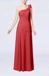 Plain Sheath One Shoulder Sleeveless Floor Length Flower Evening Dresses