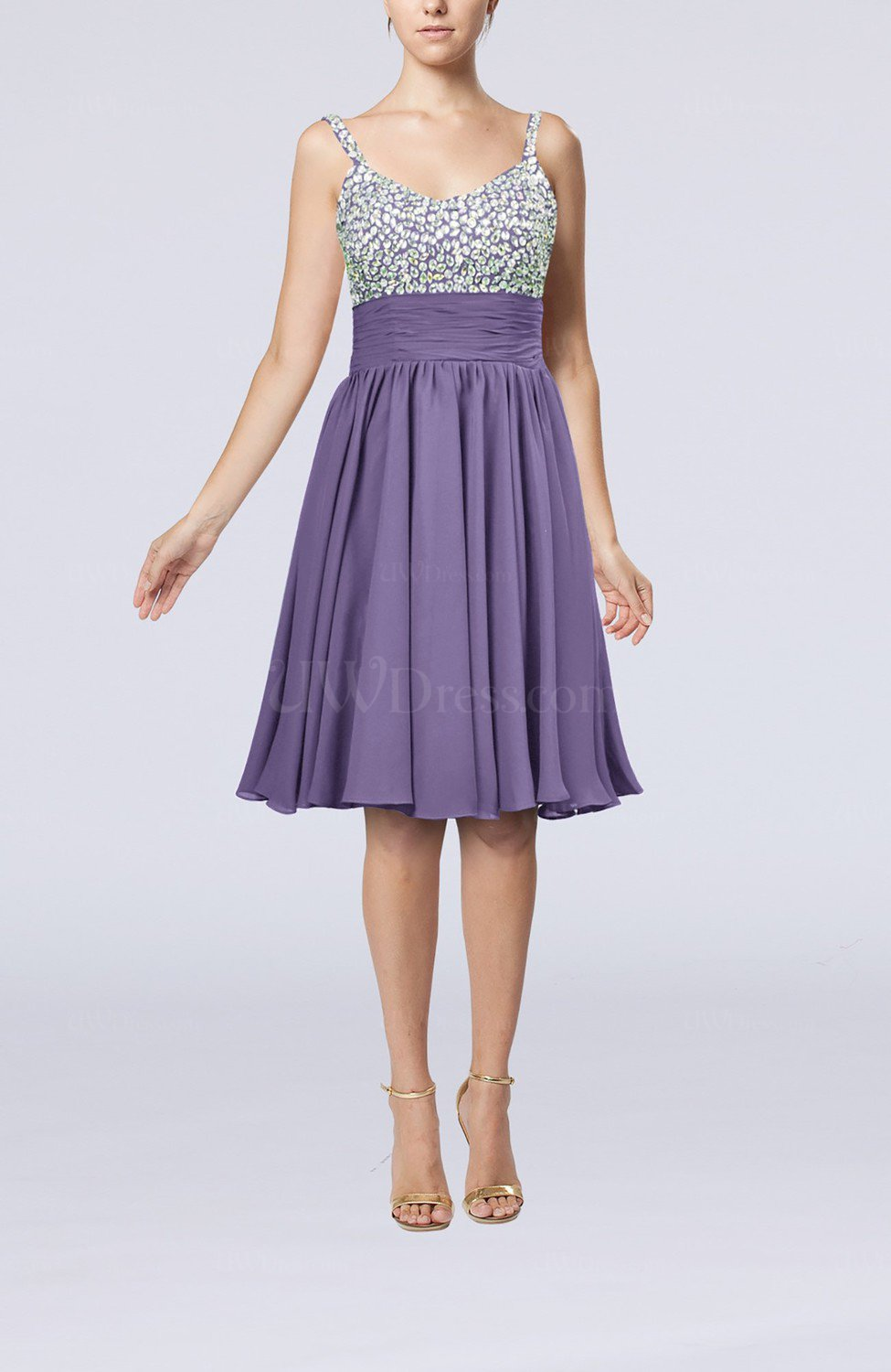 3163bfd1878 Chalk Violet Modest Thick Straps Sleeveless Chiffon Beaded Cocktail Dresses  (Style D22288)