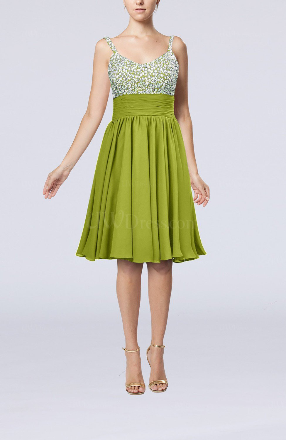 9e4612f4416c Green Oasis Modest Thick Straps Sleeveless Chiffon Beaded Cocktail Dresses  (Style D22288)