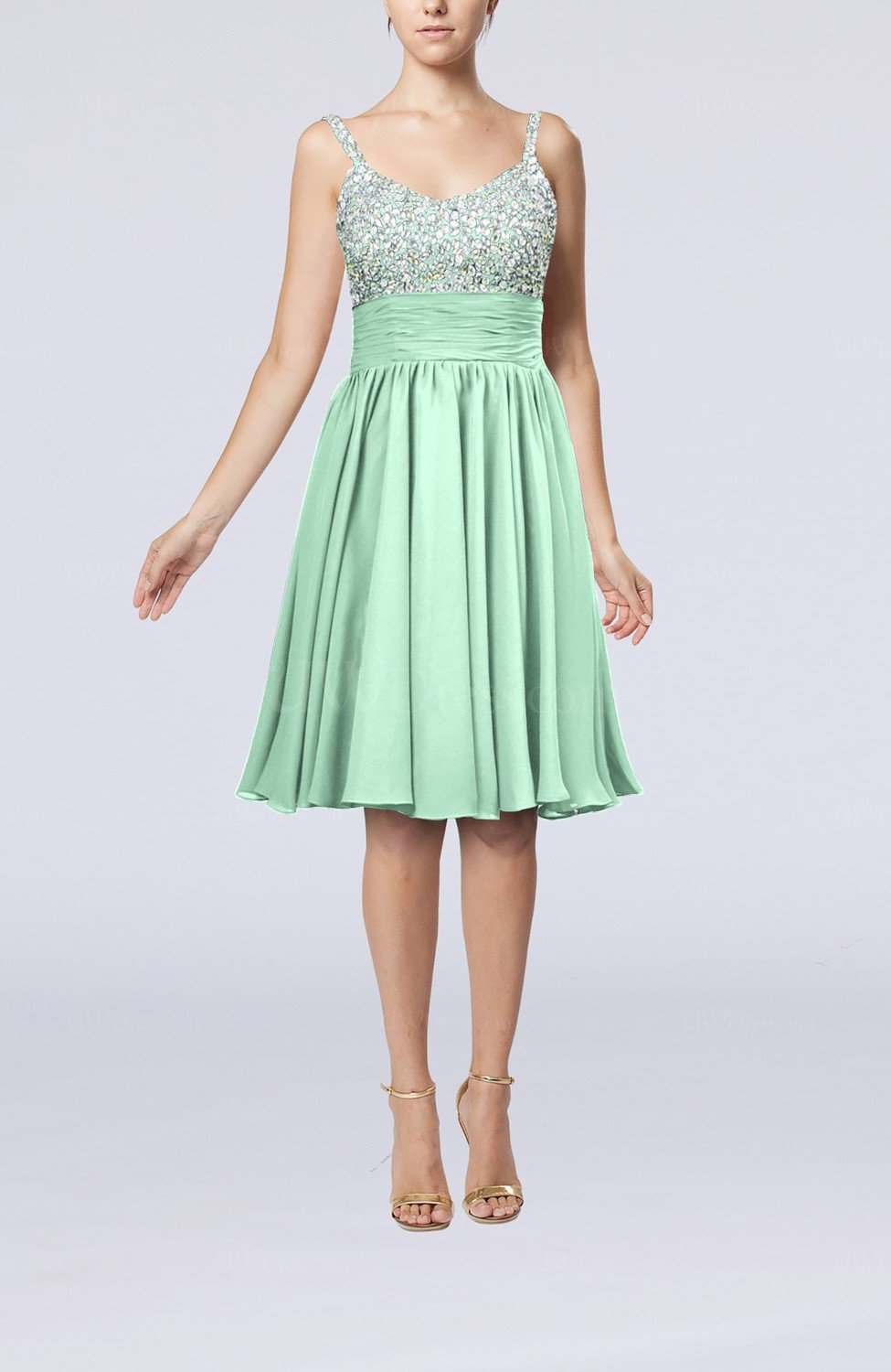 b1200fbd806 Honeydew Modest Thick Straps Sleeveless Chiffon Beaded Cocktail ...