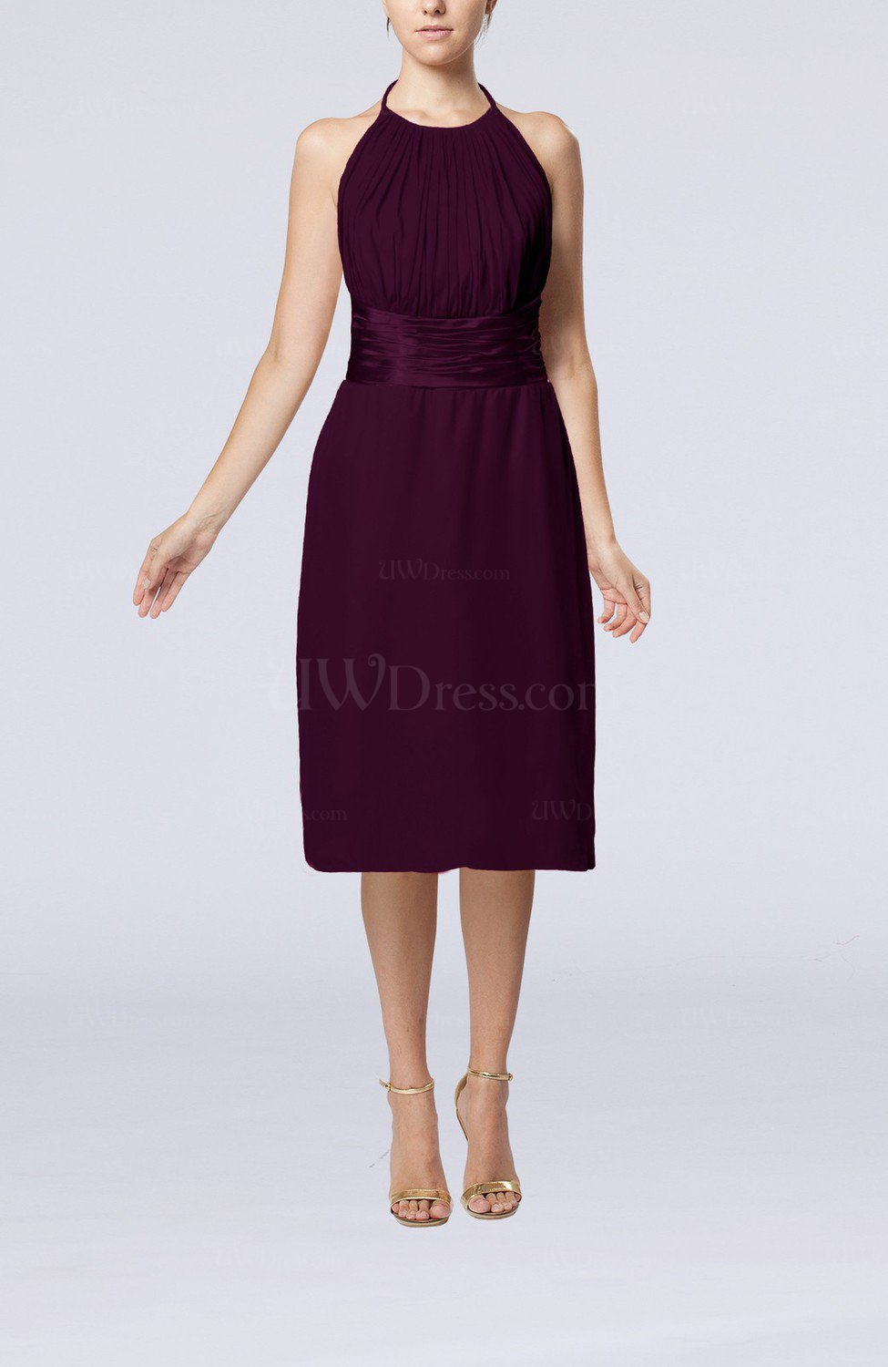 3f6c63fefd2 Plum Simple Halter Backless Chiffon Knee Length Cocktail Dresses (Style  D11021)