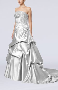 7da69cbcfc6 Silver Glamorous A-line Sleeveless Backless Satin Chapel Train Quinceanera  Dresses