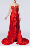 Elegant Fishtail Zipper Elastic Woven Satin Court Train Evening Dresses