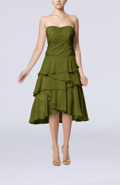 31ee1198296 Olive Green Romantic A-line Sleeveless Backless Chiffon Ruching Wedding  Guest Dresses