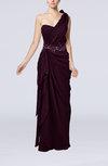 Elegant Column One Shoulder Sleeveless Floor Length Ribbon Graduation Dresses