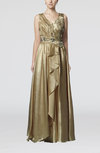 Luxury V-neck Zipper Elastic Woven Satin Floor Length Prom Dresses