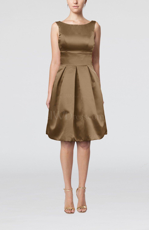a306debac8c Bronze Brown Plain A-line Sleeveless Knee Length Sash Bridesmaid Dresses  (Style D14352)
