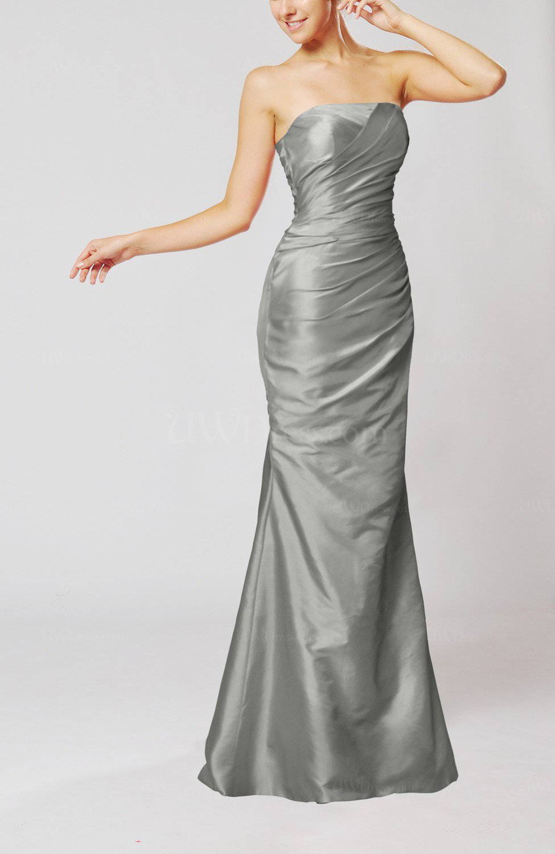 Frost Grey Elegant Church Mermaid Strapless Sleeveless