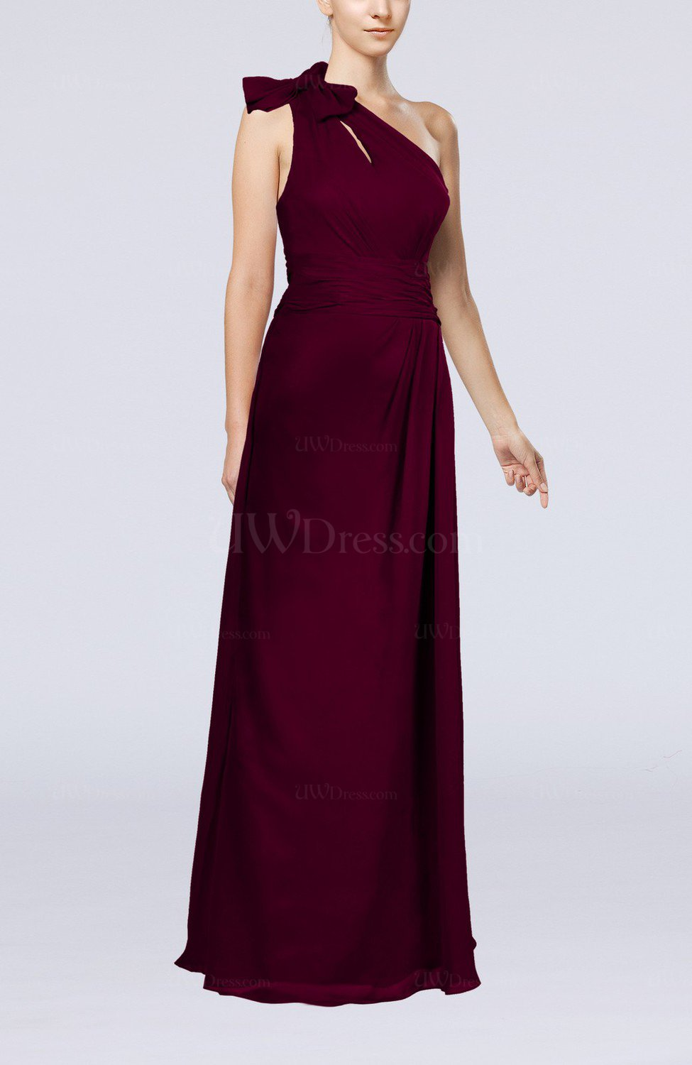 66effeb2b3 Raspberry Elegant Asymmetric Neckline Zip up Chiffon Floor Length Mother of  the Bride Dresses (Style D50567)