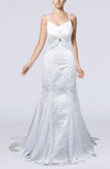 Elegant Church Thick Straps Backless Court Train Lace Bridal Gowns