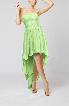 728f48ce0e2 Sage Green Cute Strapless Sleeveless Zip up Chiffon Paillette Party Dresses