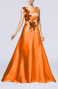 Plus Size Bridesmaid Dresses Orange Court Train - UWDress.com