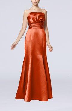 06dfe17fab0 Rust Simple Strapless Satin Floor Length Pleated Evening Dresses