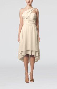 9a4496c5ea0 Cream Plain One Shoulder Sleeveless Hi-Lo Ruching Homecoming Dresses