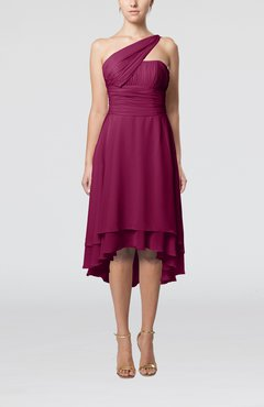 2592f708ccb Raspberry Plain One Shoulder Sleeveless Hi-Lo Ruching Homecoming Dresses