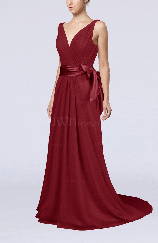 58c2714bb84 Dark Red Elegant A-line V-neck Sleeveless Chiffon Ruching Bridesmaid Dresses  (Style D83929)