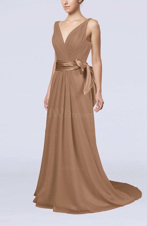 Light Brown Elegant A-line V-neck Sleeveless Chiffon Ruching Bridesmaid Dresses - UWDress.com