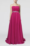 Romantic Strapless Sleeveless Zipper Chiffon Paillette Evening Dresses