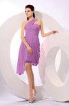 Plain A-line Asymmetric Neckline Sleeveless Chiffon Ruching Cocktail Dresses