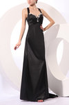 Sexy A-line Thick Straps Sleeveless Court Train Evening Dresses
