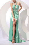 Sexy A-line Halter Zip up Elastic Woven Satin Prom Dresses
