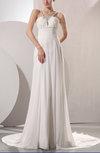 Plain Outdoor V-neck Sleeveless Chiffon Chapel Train Sequin Bridal Gowns