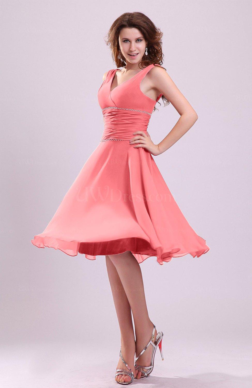 77899c20783 Coral Cute A-line Sleeveless Chiffon Knee Length Ruching Bridesmaid Dresses  (Style D41368)
