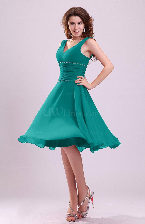 52e02af32d Emerald Green Cute A-line Sleeveless Chiffon Knee Length Ruching Bridesmaid  Dresses (Style D41368)