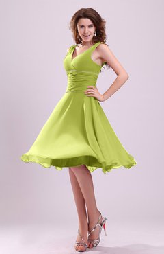 754fffe175a0 Green Oasis Cute A-line Sleeveless Chiffon Knee Length Ruching Bridesmaid  Dresses