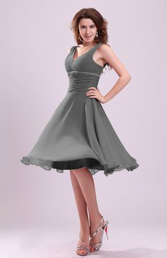 Gray Knee Length Dress