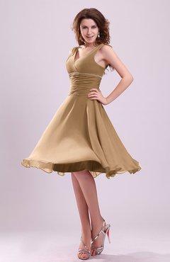 78b62a08619e Indian Tan Cute A-line Sleeveless Chiffon Knee Length Ruching Bridesmaid  Dresses