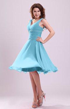 Light Blue Cute A Line Sleeveless Chiffon Knee Length Ruching Bridesmaid Dresses
