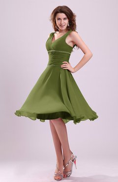 28ea75c9b81 Olive Green Cute A-line Sleeveless Chiffon Knee Length Ruching Bridesmaid  Dresses
