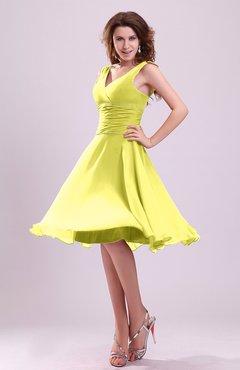 c3278c23ac Pale Yellow Cute A-line Sleeveless Chiffon Knee Length Ruching Bridesmaid  Dresses