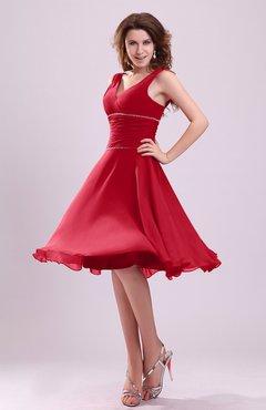a344e14a7e Red Cute A-line Sleeveless Chiffon Knee Length Ruching Bridesmaid Dresses